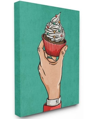 Stupell Industries Cupcake Vintage Comic Book Green Red Design Canvas Wall Art by Ester Kay