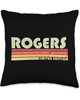 Customized Last Name Gifts Family Christmas Team ROGERS Surname Funny Retro Vintage 80s 90s Birthday Reunion Throw Pillow, 16x16, Multicolor