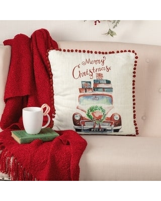 Amazing Deals On Merry Christmas Truck Pillow 18x18 Polyester Pillow 18x18 Creme Bright Christmas Red Evergreen Accent