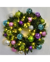 """Queens of Christmas Pre-Lit Sequoia 72"""" PVC WreathTraditional Faux in Green/White, Size 24.0 H x 24.0 W x 12.0 D in 