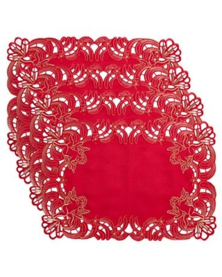 Saro Lifestyle Cupidon Placemats in Red (Set of 4)