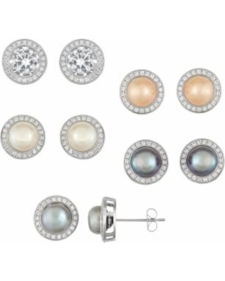 7154e7bd2 Sterling Silver Dyed Freshwater Cultured Pearl & Lab-Created White Sapphire  5-Pair Halo