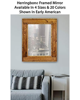 Amazing Savings On Herringbone Reclaimed Wood Framed Mirror Available In 4 Sizes And 20 Stain Colors Shown In Early American Large Framed Mirror Wall Mirror Decorative Home Decor Accents