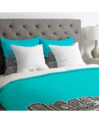 Deny Designs Bird Ave Lightweight Miami Duvet Cover 1359 Color: Teal Size: Queen