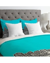 Deny Designs Bird Ave Lightweight Miami Duvet Cover 1359 Color: Teal, Size: Queen