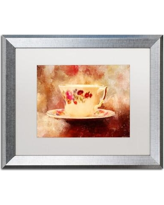 "Trademark Art 'Time for Tea' Framed Painting Print on Canvas LBR0322-S1 Matte Color: White Size: 16"" H x 20"" W x 0.5"" D"
