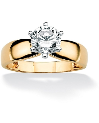 10K Yellow Gold Cubic Zirconia Solitaire Engagement Ring (8)