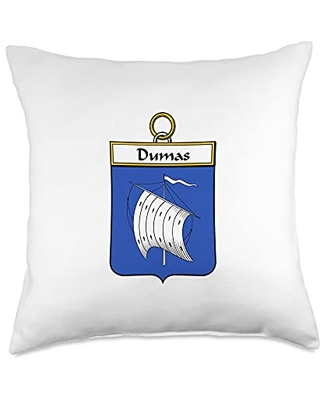 Family Crest and Coat of Arms clothes and gifts Dumas Coat of Arms - Family Crest Throw Pillow, 18x18, Multicolor