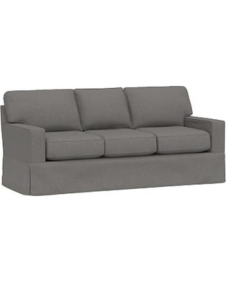 "Buchanan Square Arm Slipcovered Sofa 83.5"", Polyester Wrapped Cushions, Performance Brushed Basketweave Slate"
