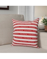The Holiday Aisle Merry Christmas Polyester Throw Pillow THDA8112 Type: Pillow Cover