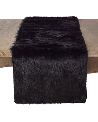 """SARO LIFESTYLE Juneau Collection Table Runner-15 x90 Oblong, 15"""" x 90"""", Black"""