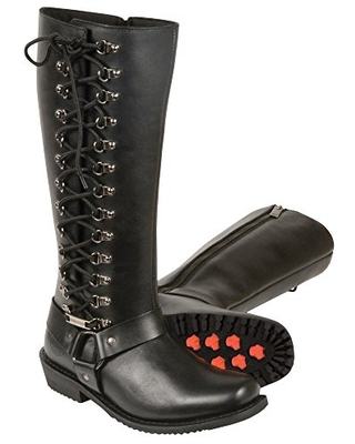 Milwaukee Leather MBL9365 Ladies Black 14 Inch Classic Harness Square Toe Leather Tall Boots with Lacing - 10