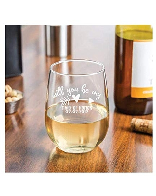 Will You be my Bridesmaid Proposal Stemless Wine Glass or Maids of Honor 17 0z