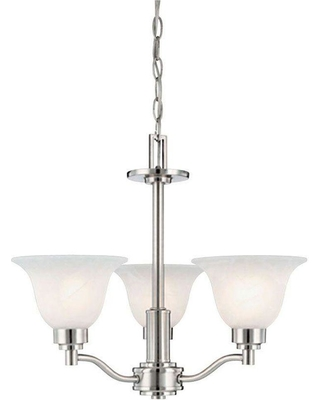Westinghouse 3-Light Brushed Nickel Interior Chandelier with Frosted White Alabaster Glass