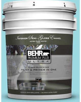 BEHR ULTRA 5 gal. #P470-2 Serene Thought Semi-Gloss Enamel Interior Paint and Primer in One