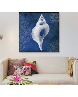"""East Urban Home 'Navy Shell I' Graphic Art Print on Canvas ETRB4233 Size: 12"""" H x 12"""" W x 0.75"""" D"""