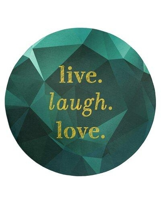 East Urban Home Faux Gemstone Live Laugh Love Quote Poly Chenille Rug FCLS7185 Rug Size: Round 5'