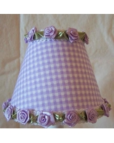 """Silly Bear Gardens of Gingham 11"""" Fabric Empire Lamp Shade LS-084 Shade Color: Purple"""