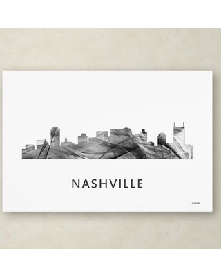 """Trademark Art """"Nashville Tennessee Skyline WB-BW"""" by Marlene Watson Graphic Art on Wrapped Canvas MW0465-C Size: 22"""" H x 32"""" W x 2"""" D"""
