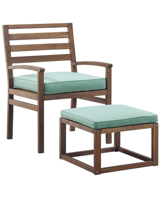 Welwick Designs Acacia Wood Outdoor Patio Chair and Pull Out Ottoman - Dark Brown/Blue