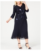 Alex Evenings Plus Size Sequined Chiffon Dress and Jacket - Navy