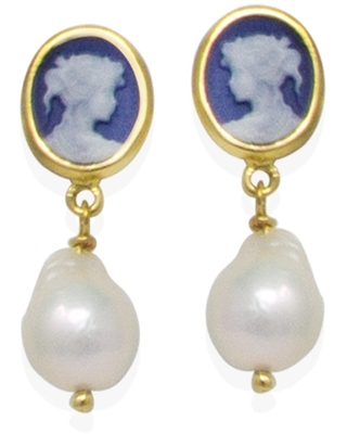 Vintouch Italy - Blue Mini Cameo & Pearls Stud Earrings