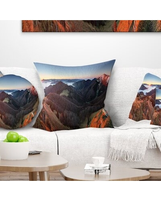 """Landscape Printed Mountain Sunset Panorama Pillow East Urban Home Size: 18"""" x 18"""", Product Type: Throw Pillow"""