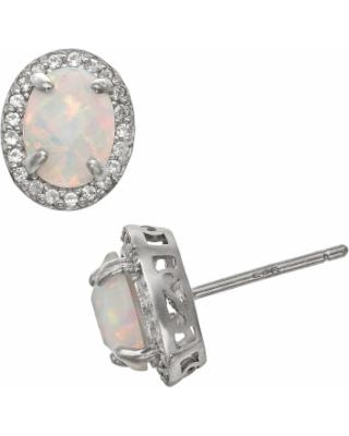Sterling Silver Lab-Created Opal and Lab-Created White Sapphire Halo Stud Earrings, Women's, multicolor