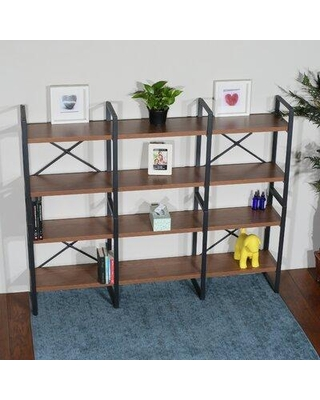 "17 Stories Wilbourn 56.69"" H x 70.86"" W Metal Etagere Bookcase, Wood/Metal in Brown, Size 56""H X 70""W X 12""D 