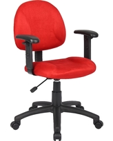 Microfiber Deluxe Posture Chair with Adjustable Arms Red - Boss Office Products