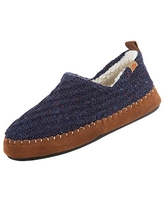 Acorn Women's Camden Recycled Moccasin Slippers with Berber lining, Navy Blue, Small