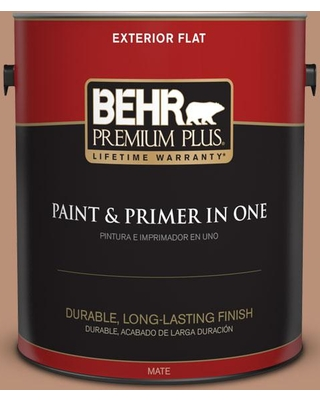 BEHR Premium Plus 1 gal. #bxc-46 Mojave Dusk Flat Exterior Paint and Primer in One