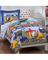 Dream Factory Trains and Trucks Mini Bed in a Bag - Blue (Twin)