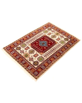 """One-of-a-Kind Hazy Hand-Knotted New Age 5'6"""" x 7'9"""" Wool Area Rug in Red Isabelline"""