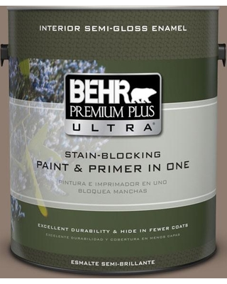 BEHR Premium Plus Ultra 1 gal. #N180-5 Bridle Leather Semi-Gloss Enamel Interior Paint and Primer in One