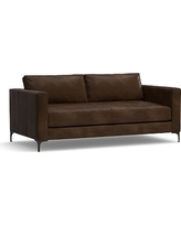 """Jake Leather Loveseat 70"""", Polyester Wrapped Cushions, Leather Vintage Cocoa"""