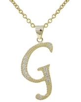 Luxiro Gold Finish Sterling Silver Cubic Zirconia Initial Pendant Necklace (G)