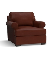 Townsend Roll Arm Leather Armchair, Polyester Wrapped Cushions, Leather Signature Whiskey