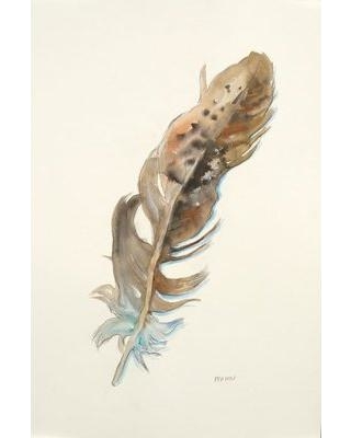 """Third and Wall Art Group 'Brown Feather II' by Patti Mann Watercolor Painting Print on Wrapped Canvas GUMAN-116-FP- Size: 32"""" H x 24"""" W"""