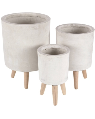 Set of 3 Planters with Wooden Legs White - Olivia & May