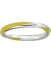 Stacks and Stones Sterling Silver Yellow Enamel Twist Stack Ring, Women's, Size: 9