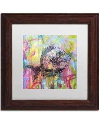 """Trademark Art 'Fishy Spray' by Dean Russo Framed Graphic Art ALI2650-W1 Size: 11"""" H x 11"""" W x 0.5"""" D Matte Color: White"""