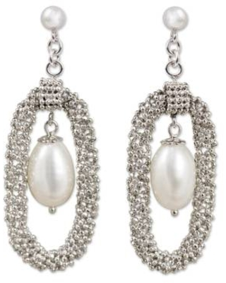Thai Silver Handcrafted Cultured Pearl Chandelier Earrings