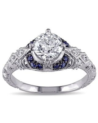 Miadora Signature Collection 14k White Gold Sapphire and 1 1/10ct TDW Diamond Engagement Ring - Blue (6)