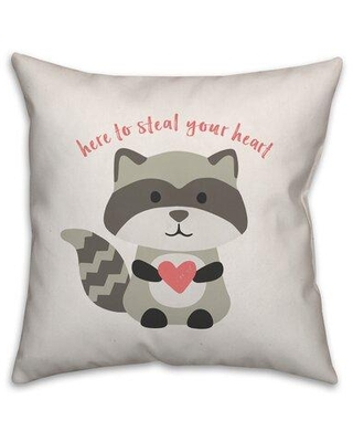 Shop Deals For Ebern Designs Duerr Steal Your Heart Raccoon Throw Pillow Polyester Polyfill Polyester Polyester Blend In White Size 18 H X 18 W Wayfair