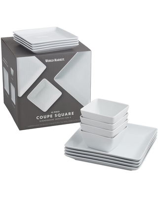 Square White Porcelain Coupe Dinnerware 12 Piece Set by World Market