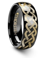 IDASON Polished Domed Black Tungsten Ring with Celtic Knot Design - 6mm