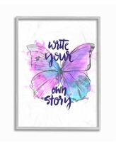 Stupell Industries Write Your Story Phrase Butterfly Wings Purple Design Canvas Designed by Jennifer Paxton Parker Wall Art 16 x 20