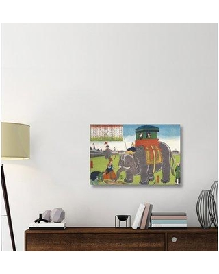"""East Urban Home 'Elephant Taking a Lunch Break' Graphic Art Print on Canvas ESUH8921 Size: 24"""" H x 36"""" W x 2"""" D"""