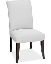 PB Comfort Roll Arm Upholstered Dining Side Chair, Performance Slub Cotton White